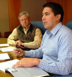 Sealaska CEO Anthony Mallott, right, discusses the regional Native corporation's earnings and losses during a Friday press conference as Chief Financial Officer Doug Morris looks on. (Photo by Ed Schoenfeld/CoastAlaska News)