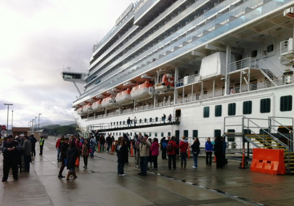 Tourists disembark from the Ruby Princess. Photo by Leila Kheiry/KRBD.