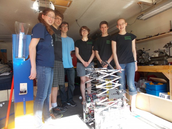 Schrodinger's Hat team members and their robot. Credit: Dan Bross / KUAC