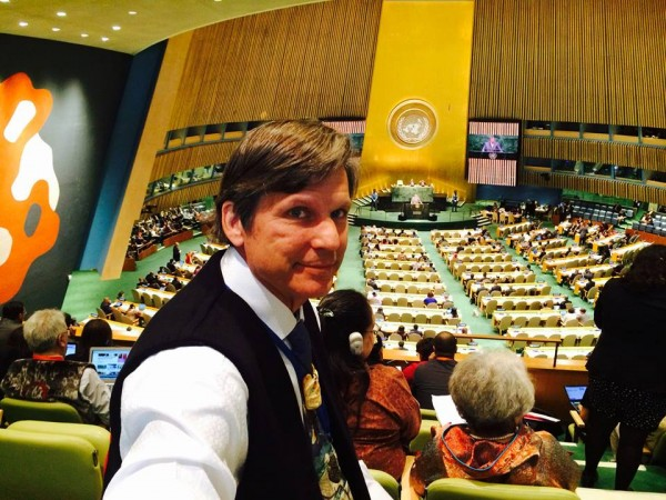 Tlingit-Haida Central Council's Will Micklin attends the United Nation's World Conference on Indigenous Peoples Sept. 22, 2014.. (Photo courtesy Indianz.com)