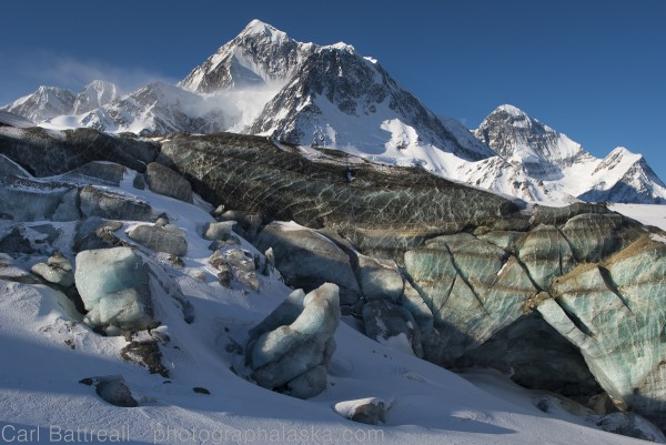 Beautiful ice and Mount Hess and Mount Deborah, Gillam Glacier, Eastern Alaska Range. Photo by Carl Battreall.