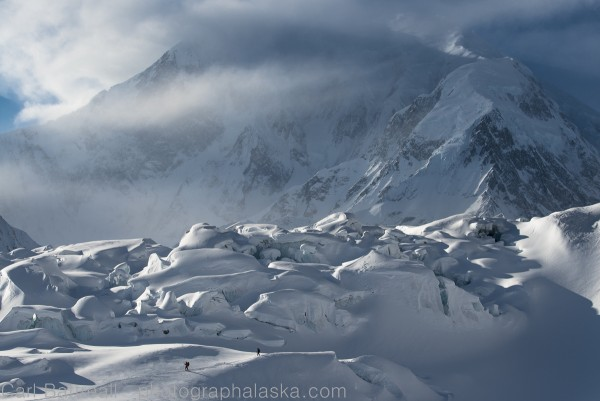 Tune in on the next Outdoor Explorer to hear how photographer Carl Battreall got this shot. Skiers Sy Cloud and Chris Wrobel descend through the Kahiltna Icefall. Mount Foraker in the background, Denali National Park and Preserve.