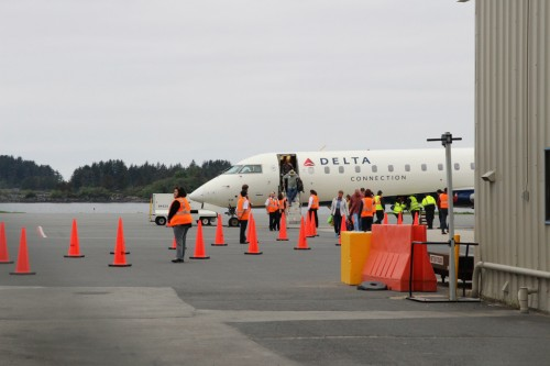 Delta landed it's first flight in Sitka for the 2015 summer season. Daily flights will operate directly from Seattle and provide direct competition to Alaska Airlines. (Emily Kwong/KCAW)