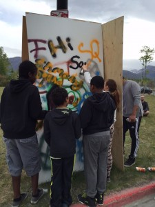 Kids learn about graffiti art at the Hip Hop Summit in Anchorage. Hillman/KSKA