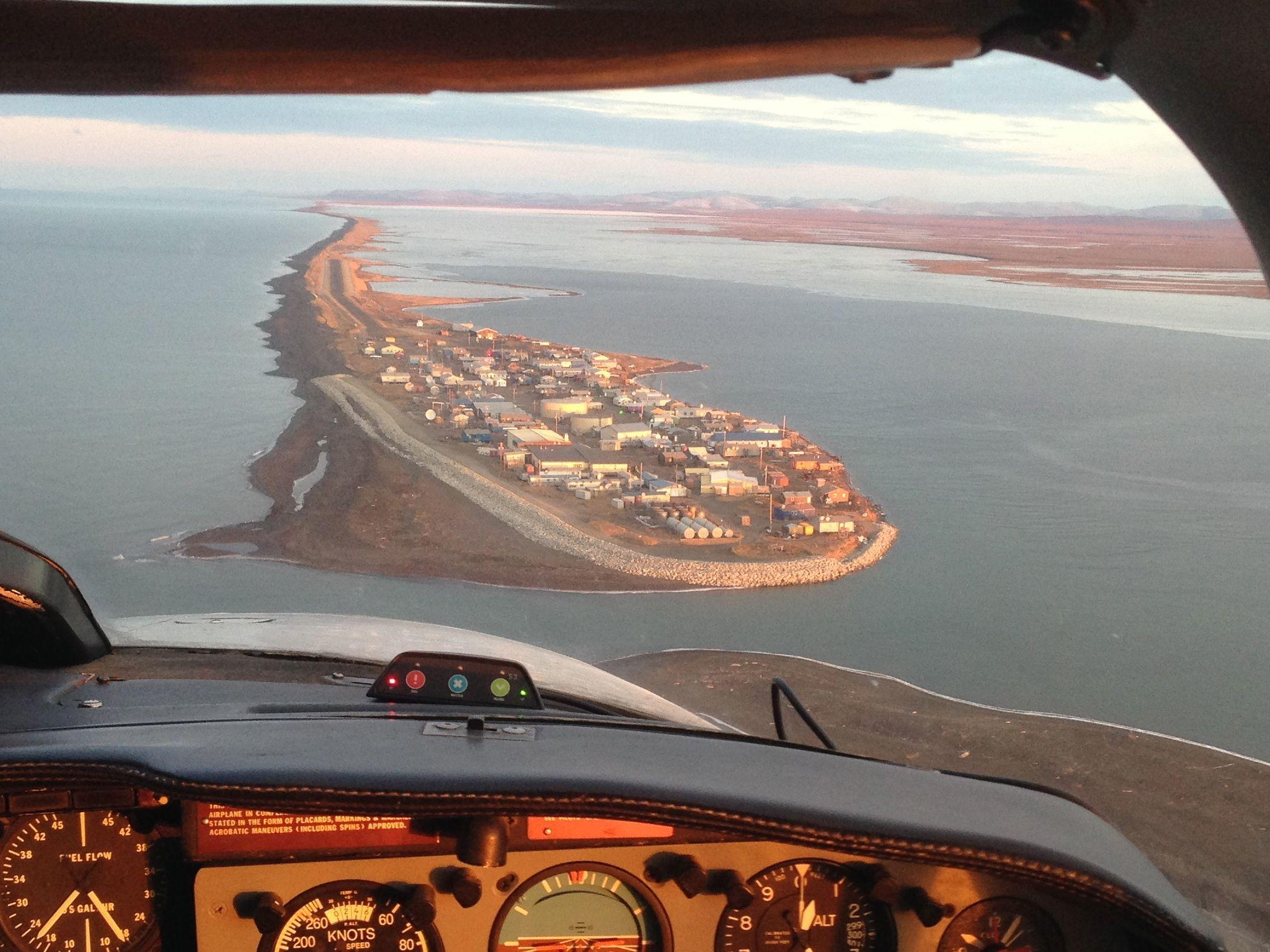 Water and sewer systems in communities across Alaska are threatened by flooding and erosion due to climate change. Shown here is the village of Kivalina located on a barrier island in Northwest Alaska that's facing inundation. Joaqlin Estus KNBA