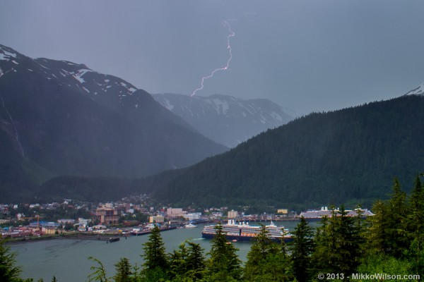 Lightning strikes over Juneau, June 17, 2013. Monday's thunderstorms didn't appear to reach Juneau. (Photo by Mikko Wilson)