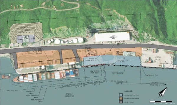 A diagram of the proposed upgrades includes wider crane rails (black dotted line), new piling and reshaping (blue shaded area) and larger vessels that might use the facility (outlined in water). (Courtesy: City of Unalaska)