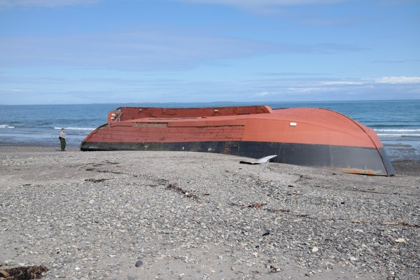 The F/V Northern Pride ended up on Katmai's Shelikok Strait coastline. It was spotted May 7, and NPS staff were on the scene May 11. Credit National Park Service