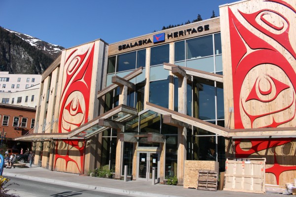 "Haida artist Robert Davidson's metal panel ""Greatest Echo"" adorns the front of the Walter Soboleff building in Juneau. Photo: Elizabeth Jenkins/KTOO"