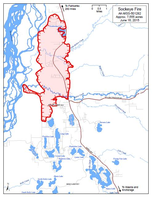 Sockeye Map Shows Modest Fire Growth For Monday | Alaska Public Media