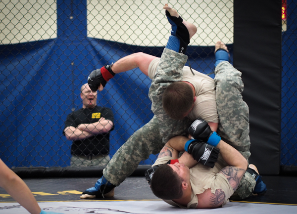 The Level 1 combatives course lasts a week, and is required of Army soldiers stationed at JBER. Higher tiers require at least a month of coursework. (Photo: Zachariah Hughes, KSKA)