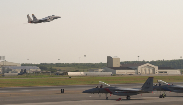 F-22, F-16, and Hawker Hunter fighter jets took off from JBER Tuesday morning as part of exercises. (Photo: Zachariah Hughes, KSKA)