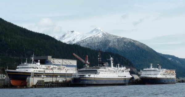 Three ferries dock at the Ketchikan Shipyard for repairs and upgrades in 2012. All 11 ships would tie up by early July if the Legislature does not reach a budget compromise. (Ed Schoenfeld/CoastAlaska News)