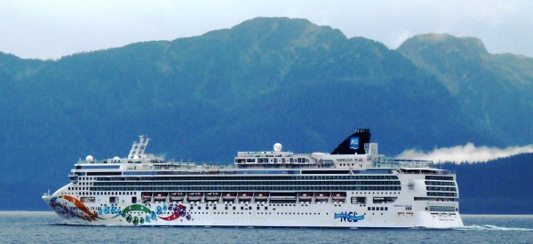 The cruise ship Norwegian Pearl sails south through Chatham Strait on its final voyage of 2013. The ship is one of six permitted to release treated blackwater into Alaska harbors this summer. (Photo by Ed Schoenfeld/CoastAlaska News)