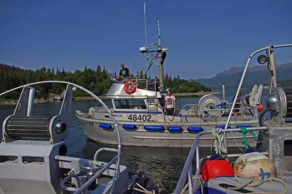 The F/V Solstice maneuvers in Pile Bay while rafting up with the F/V Independence and F/V Eagle Claw on June 16, 2015. The three Homer-based fishing vessels traveled the length of Iliamna Lake together as part of the trip from Homer to Bristol Bay.