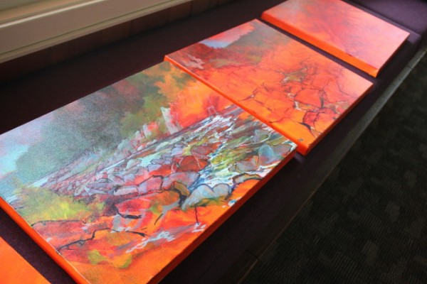 Baltuck's work during the residency depict scenes of the park. (Photo by Lisa Phu/KTOO)