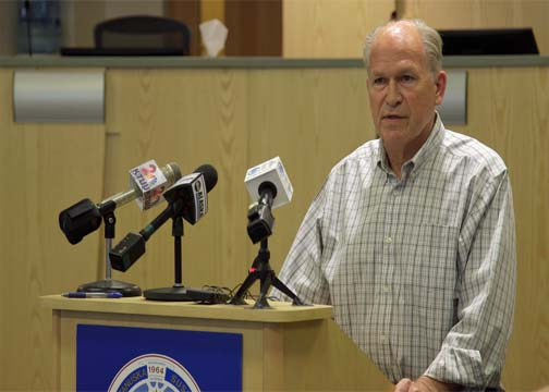 Gov. Bill Walker briefed reporters on Monday. (Photo by Eric Keto - Alaska Public Media)