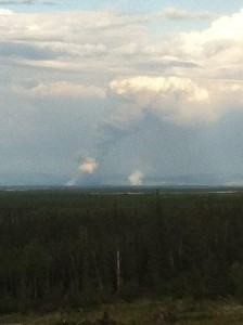 Smoke columns from Healy Lake wildfires Tuesday night. CREDIT ALASKA DIVISION OF FORESTRY
