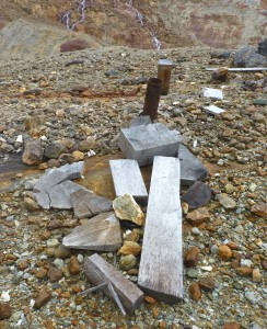 A rusty pipe marks the first drilling site at the KSM Prospect. (Photo by Ed Schoenfeld/ CoastAlaska News)