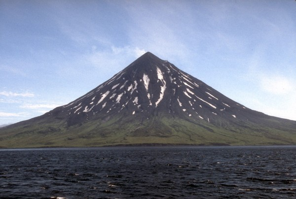 This symmetrical, 1,730-m (5,676 ft)-high stratovolcano has been the site of numerous eruptions in the last two centuries. Credit USGS