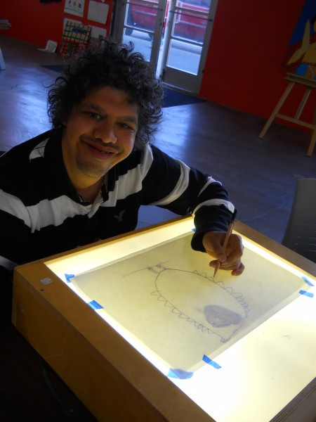 Brandon Fernandez draws at the Sparc! studio. Photo courtesy of Sparc!