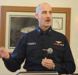 Rear Adm. Thomas Ostebo addresses the Juneau Chamber of Commerce in 2011. He'll soon head up the cruise industry's trade group. (KTOO file photo)