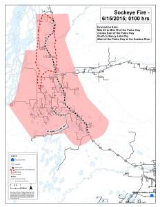 Sockeye Fire evacuation area map
