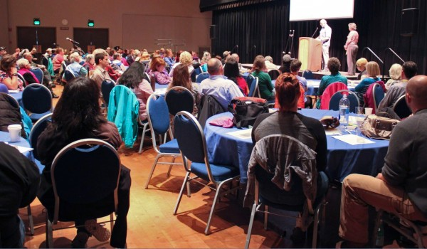 "The first day of the conference, ""Trauma and Suicide: Breaking the Link,"" attracted about 185 participants, mostly from Juneau. All the sessions take place at Centennial Hall and continue into Friday. (Photo by Lisa Phu/KTOO)"