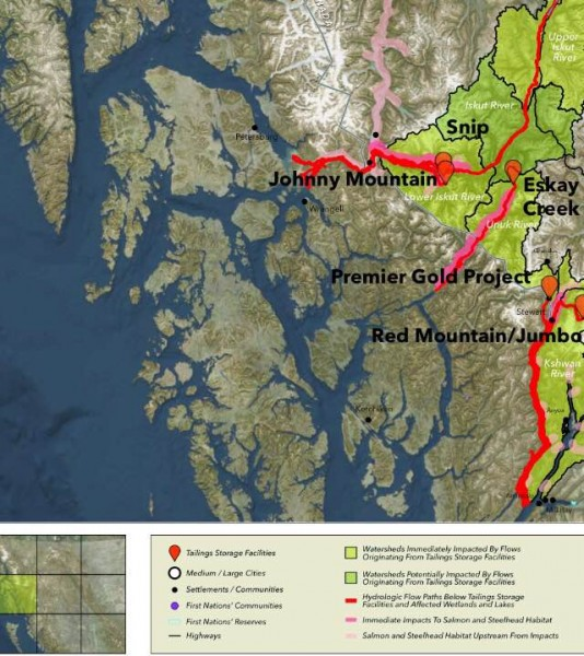 This map, found in the FNMEC report, shows potential contaminant flow paths from B.C. tailings dams into Southeast Alaska waters.