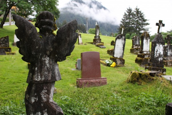 The Evergreen Cemetery is split up into different groups. This is the Serbian part of the grounds. (Photo by Elizabeth Jenkins/KTOO)