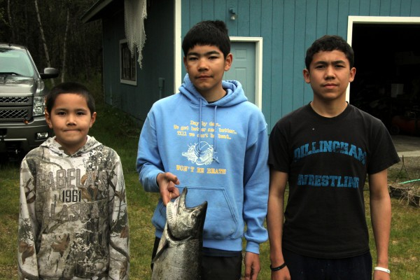 The fishermen responsible for the first 12-lb king: brothers Graelin, Triston and Dillon Chaney Credit Hannah Colton/KDLG
