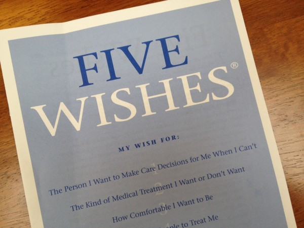 'Five Wishes' is one of two advanced directives the state of Alaska recognizes.