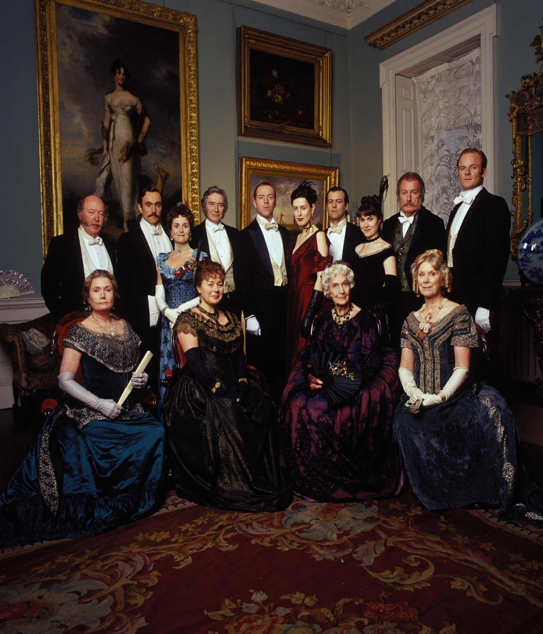 THE FORSYTE FAMILY - (back row L-R) ROBERT LANG, Swithin; BEN MILES, Dartie; AMANDA ROOT, Winifred; DAMIAN LEWIS, Soames;  GINA McKEE, Irene; RUPERT GRAVES, Young Jolyon; GILLIAN KEARNEY, June; CORIN REDGRAVE, Old Jolyon; ALISTAIR PETRIE, George Forsyte. (front row L - R)  ANN BELL, Aunt Hester; BARBARA FLYNN, Aunt Emily;  JUDY CAMPBELL, Aunt Ann; WENDY CRAIG, Aunt Juley;  Photograph taken by Brian Moody.