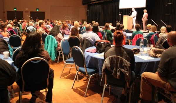 """The first day of the conference, """"Trauma and Suicide: Breaking the Link,"""" attracted about 185 participants, mostly from Juneau. All the sessions take place at Centennial Hall and continue into Friday. (Photo by Lisa Phu/KTOO)"""