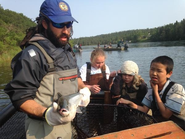 Jamie Westnegee shows salmon camps students who Fish and Game measures and records salmon as they return upstream to spawn. Credit Matt Martin/KDLG