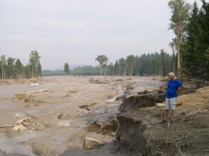 Hazeltine Creek, once a narrow waterway, is filled with mud, silt and logs following August 2014's tailings dam breach at the nearby Mount Polley Mine. (Photo courtesy Chris Blake/MineWatch Canada).