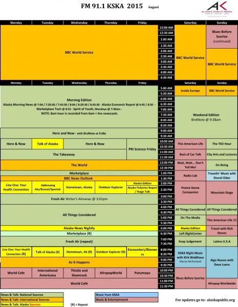 KSKA rolls out a new program schedule August 1.