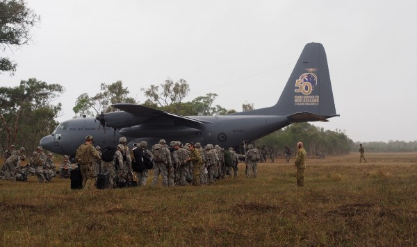 Members of the 4-25th Airborne Brigade of JBER load up on a C-130 during exercise Talisman-Saber. Photo: Zachariah Hughes/KSKA.