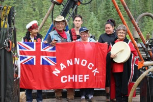 Tahltan First Nation elders and other tribal members protest exploratory drilling at the Doubleview Hat prospect site. It's on a tributary of the Taku River. (Photo courtesy Tahltan Central Council)