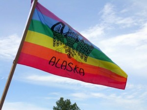 An Alaska Pride flag. The image is based on a double-faced eagle design from Alaska before Russian contact. (Creative Commons photo by Mel Green)