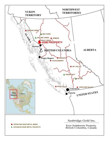 Other British Columbia mines and mine projects being watched by Alaska critics include the KSM, Red Chris and Galore Creek. (Map courtesy Seabridge Gold)