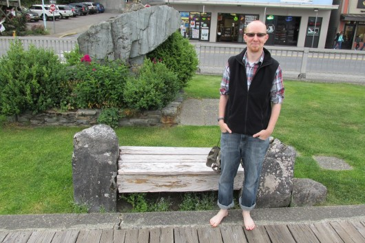 Peter Epler, a pastor at Ketchikan Church of the Nazarene, is going barefoot for a month to raise awareness of the need for shoes in third-world countries. (Photo by Leila Kheiry)
