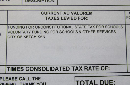 A 2015 property tax bill from the Ketchikan Gateway Borough includes a break-out of how much a homeowner pays toward the state's required local contribution for public education. (Photo by Leila Kheiry)
