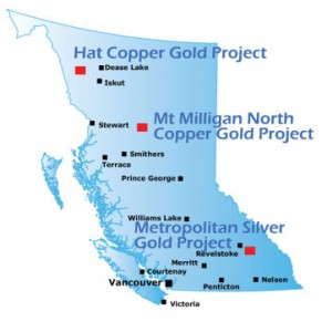 Doubleview Capital Corp.'s Hat mineral prospect is the northernmost of its mineral development sites. (Map courtesy Doubleview Capital Corp.)