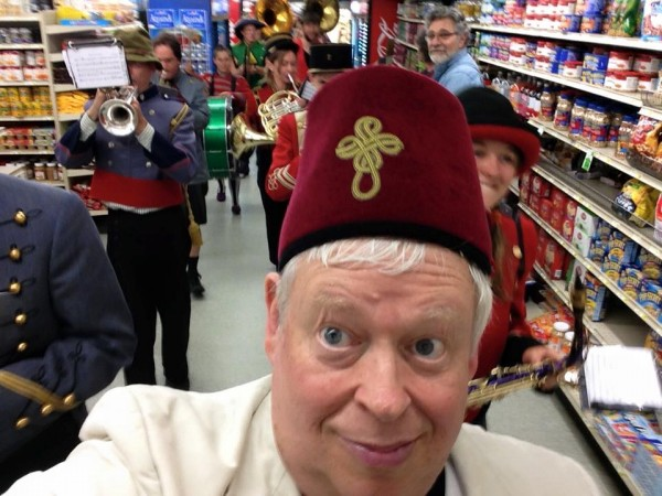 A selfie shot while the New Old Time Chautauqua band marches through a Wrangell supermarket, June 25, 2015. (Photo courtesy Eben Sprinsock/New Old Time Chautauqua)