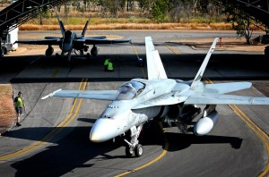 A Royal Australian Air Force No. 3 Squadron F/A-18 Hornet departs for a sortie at RAAF Base Tindal, Northern Territory, during Exercise Talisman Sabre 2015. Photo: Talisman Sabre Facebook page.