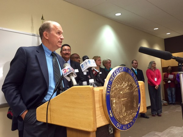 Gov. Bill Walker announces his decision to expand Medicaid unilaterally at a press conference at the Alaska Native Tribal Health Consortium on Thursday, July 16, 2015. (Alexandra Gutierrez/APRN)