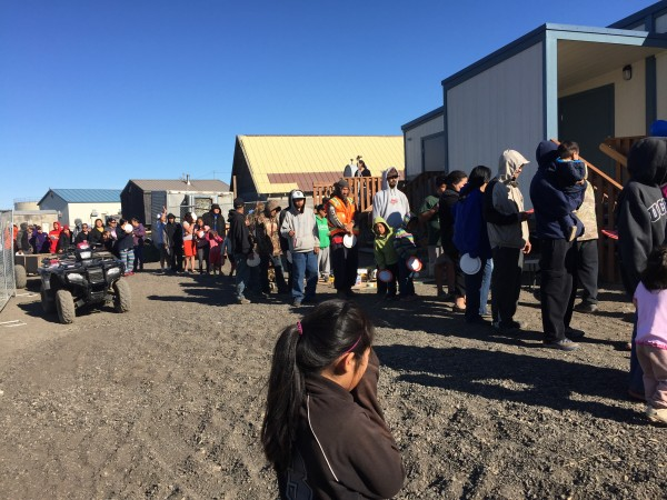Kivalina's new store, owned by ANICA, celebrated its opener with hot dogs and hamburgers for all. Photo: Janet Mitchell.