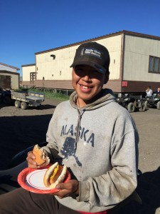 Hot dogs, hamburgers and other foods are popular with Kivalina's younger residents. Photo: Janet Mitchell.
