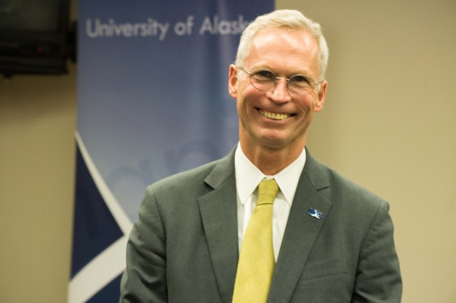 Jim Johnsen at a meet and greet in Juneau, July 7, 2015. Johnsen is a candidate for University of Alaska president. (Photo by Jeremy Hsieh/KTOO)